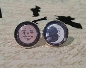 Ouija sun and moon witchboard inspired large post earrings