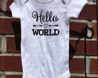 Hello World  Baby or Infant Onesie/Gown