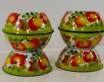 Six Vintage Enamel Bowls