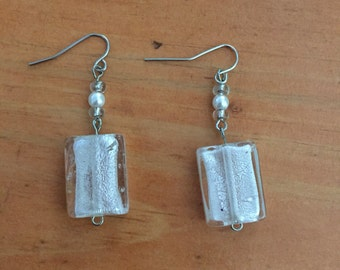 Frosted Rectangle Eearings