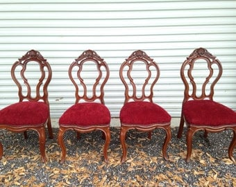 Dining chairs Set of 4 Victorian / French Provincial Red Velvet