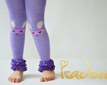 Purple Easter Bunny Cotton Ruffle Footless tights