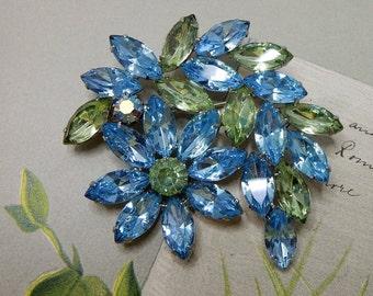 Two-Tone Blue & Green Marquise Rhinestone Flower Cluster Brooch    NCM5