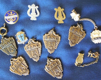 12 Vintage Jostens Band Awards Pins Charms