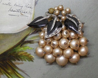 Miriam Haskell Faux Pearl & Black Enamel Leaf Dress Clip Brooch