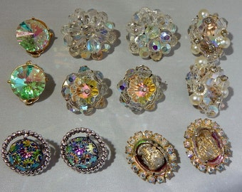 6 pr. Fabulous '50s Vintage Clear Crystal & Rhinestone Earrings Lot    NV43