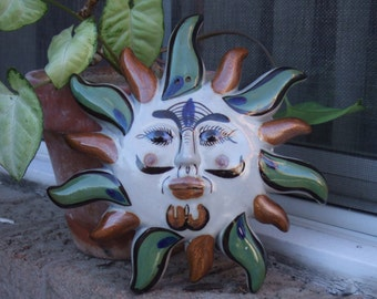 Vintage Pottery Sun. Over 7 Inches Tall Wall Hanging. Mexican Pottery. Sun Face.