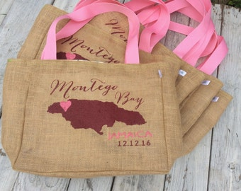 Montego Bay - Negril - Runaway Bay - Jamaica - Destination Custom Wedding Tote Bags - Handmade Wedding Favors or Bridesmaids Gifts