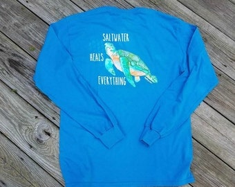Men's Saltwater Heals Everything Long Sleeve Tshirt - Available in 3 colors - Sea Turtle - Cancer Awareness