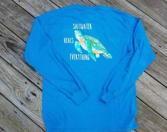 Men's Saltwater Heals Everything Long Sleeve Tee shirt - Available in 3 colors - Sea Turtle - Cancer Awareness - Free Shipping US