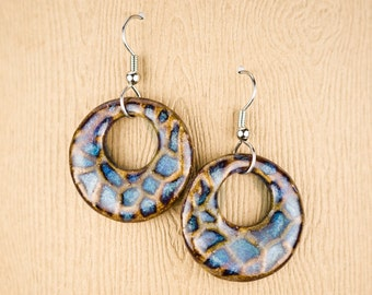 Handmade pottery earrings in Aurora glaze. Earthy and casual. Surgical Steel Earwires / clay jewelry / casual earrings