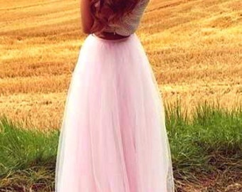 Long Light Pink Tulle Tutu Skirt, Maxi Skirt, color of your chose