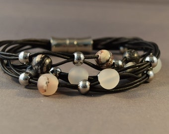 Leather Bracelet-Black Leather Bracelet-Women Bracelet-Beaded Bracelet-Natural Gemstones Bracelet-Gifts-Agate  Bracelet-Jasper Barcelet