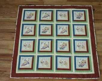 Baby or toddler quilt retro children at county fair yellow red white blue green reversible