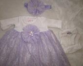 PREEMIE Gown Set,Lavender Lace Dress,Preemie Dress,Preemie Christening,Preemie Blessing, Preemie Baptism Dress, Premature, Preemie Pink Gown