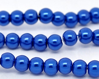 8mm Bright Blue Glass Pearl Imitation Round Beads - 32 inch strand