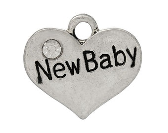 "1 or 2 or 4 or 10 pcs. Antique Silver ""New Baby"" charm with rhinestone - 17mm X 15mm"