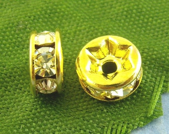30pcs. Gold Plated Clear Rhinestone Rondelle Spacer Beads - 7mm x 3mm