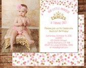 Little Princess is Turning One First Birthday Invitation - Gold and Pink with Confetti and Pumpkin- One Year Old Birthday- Gold Crown