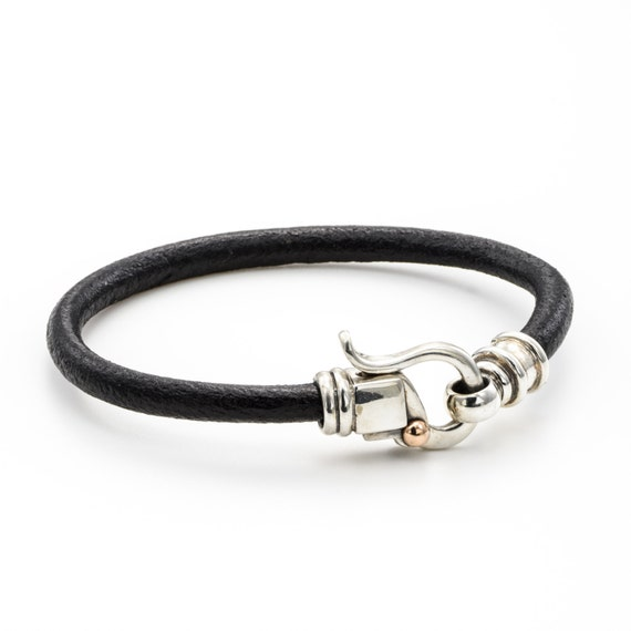 SILVER LEATHER BRACELET, brown leather, silver clasps, israeli designer, handmade jewelry, dot gold clasps Personalized, silver jewelry