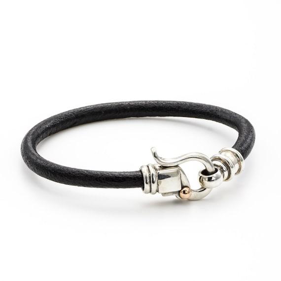 SILVER LEATHER BRACELET, black leather bracelet, mens leather bracelet, womens leather bracelet, summer sale, free shipping