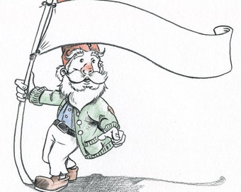 Gnome Waving Banner Sketch-A-Day