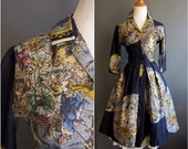 1950s Holly Hoelscher map print silk dress, small size, Bullocks Wilshire, novelty print dress, vintage shirtdress 1950s dress shirtwaist