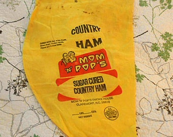 Rustic COUNTRY HAM SACK Boho Yellow Cotton Red Printed Bag, Mom N Pops Kitchen Wall Hanger N Carolina Primitive, Funky Advertising Storage 1