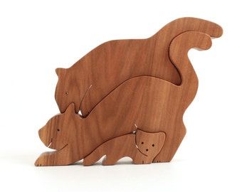 Wood Cat Decoration, 3 Piece Cat Stack, Wooden Kitty Family, Cat Shelf Sitter, Cat Lover's Gift, Cat Figurines, Red Gum