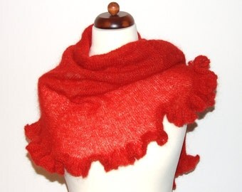 red scarf with ruffle, light handknit shawl, golden shimmer