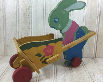 Rare Vintage Wooden Rabbit Easter Toy