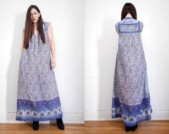 Vintage Indian Floral Peacock Gauze Cotton Boho Dress Hippie Dress 70's