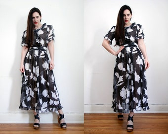 Vintage Floral Hippie Sheer Frill Sleeve Boho Float Maxi Dress 70's