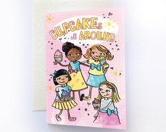 Cupcakes Happy Birthday Card, Multicultural Cards, Cute Birthday Card, Black Girl Greeting Card, Childrens Birthday Card, for Girls