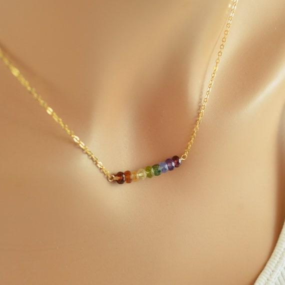 Rainbow Necklace, Bright Colorful Gemstone Row, Semiprecious Stone, Bar Necklace, Fun Gold Jewelry, Free Shipping
