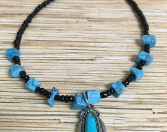 Black and Turquoise Stone Anklet
