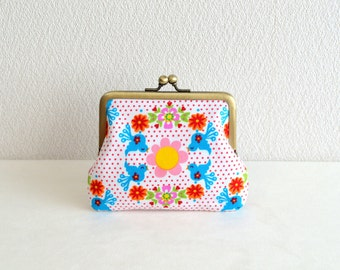 Christmas sale!  Retro floral and bird coin purse - red, turquoise blue, dots, frame purse, clasp purse