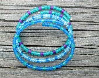 Frosted glass anklets or bracelets- set of 3