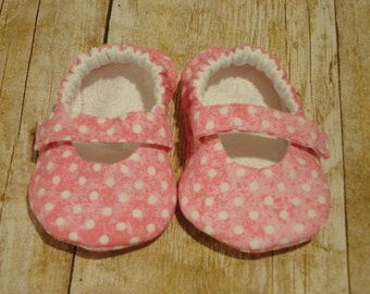 3-6 Months Baby Mary Jane shoes --Pink Polka Dot