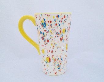 Colorful Ceramic Tall Latte Mug - Hand Painted - Kiln Fired