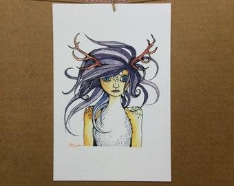 Watercolor/Ink-Fantasy-Cassandra the Deer Girl