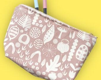 Brown Cosmetic Bag, Large Pencil Case, Cotton Wash Bag, Make Up Bag, Travel Bag, Pencil Case, Zipped Pouch