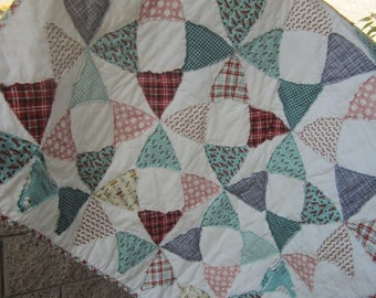 Happy Country Baby.........A Fray Edge Circle Quilt......Ready to Ship