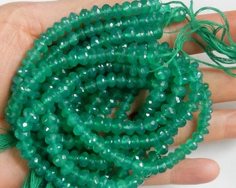 7x4.5mm Green Onyx faceted rondelle , 10 inches strand