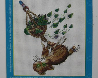 Hang In There, Baby! Cat swinging from houseplant cross stitch kit. Complete unopened. Gary Patterson.