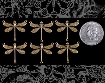 Antiqued Brass Medium Ornate Dragonfly Three Ring Connectors Set of Six * AB-3C32