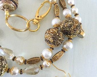 Gold Tone Crystal and Pearl Lanyard