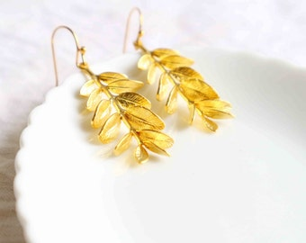 Grecian goddess earrings, Gold branch with leaves earrings, Willow Branch Earrings, Gold Drop Earrings.