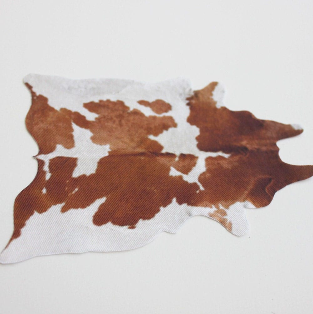 Miniature Brown and White CowhideLook Rug in 112 Dollhouse