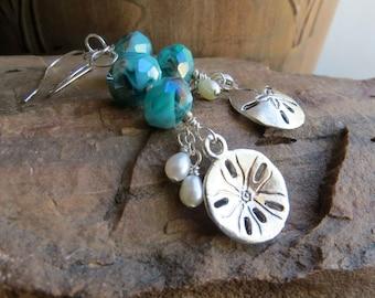 sand dollar earrings, OCEAN, freshwater pearl earrings, teal blue earrings, silver earrings earrings, beach earrings, teal earrings, the sea